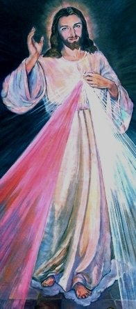 Jesus the Divine Mercy as He appeared to St Faustina February 22nd 1931