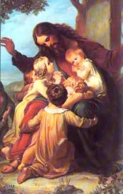 Jesus preaches about the Kingdom of Heaven to little children